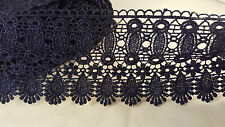 9cm Beautiful navy blue guipure venise lace trimming for designing sewing 1 mtr