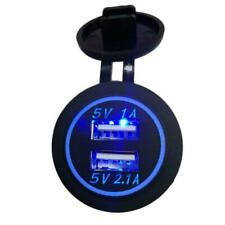 Waterproof LED Light 12-24V 3.1A Motorcycle Car Dual USB Power Charger Socket
