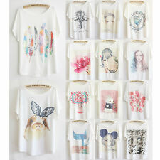 Summer Womens Cat Rabbit Printed Shirt Loose Batwing Sleeve Graphic T-Shirt Tops