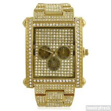 Gold Big Face Rectangle Face Czech Crystal Iced Out Mens Watch