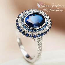 18K White Gold GP Made With Swarovski Element Oval French-set Sapphire Halo Ring