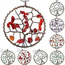 Gemstone Chip Copper Plated Wire Wrap Tree Of Life Pendant Jewelry Fit Necklace