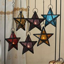 Glass Pentagram European Style Iron Art Hanging Candle Holders Colorful Star Hom