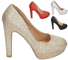 Womens Sparkly Metallic High Stiletto Heel Party Prom Bridal Wedding Court Shoes