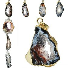 Natural Druzy Agate Geode Gemstone Irregular Shape Pendant Golden Silver Jewelry