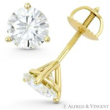 Forever ONE Round Cut Moissanite 14k Yellow Gold 3-Prong Martini Stud Earrings
