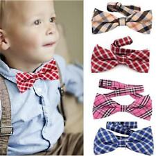 Children Kids Boys Toddler Infant Plaid Bowtie Pre Tied Wedding Bow Tie Necktie