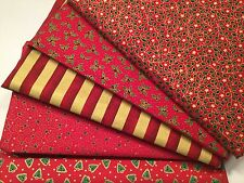 Fat Quarter Bundle Christmas 100% Cotton Fabric Stars Holly Stripe Red Gold F25