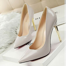 Size 4-8 Women Party Shoes High Metal Heels Pointed-toe Stilettos Formal Pumps