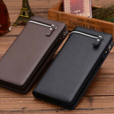 Genuine Leather Business Zipper Long Wallet Card Purse NEW Coin Holder ID Credit
