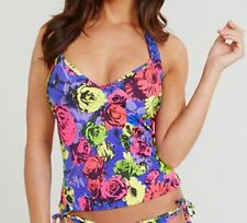 FREYA FLORAL POP UNDERWIRE 50S HALTER TANKINI TOP BNWT RRP £54