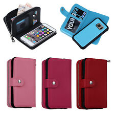 Luxury PU Leather Zipper Wallet Case Card Cash Purse Holder For Samsung iPhone