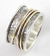 Spinner Silver Ring Bronze Rose Gold Plated 925 Silver Filigree Genuine Ring