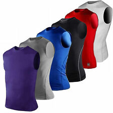 Mens Base Layer Vest Stretch Compression Skins Tank Top Gym Gear Shirt Jersey