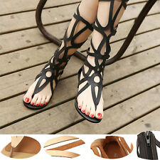 Womens Flat Shoe Sexy Strappy Open Toe Zipper knee high Boots Thong Sandals Size