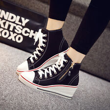 Women's High Top Lace Up Wedge Heels Platform Sneakers Zipper Shoes Canvas