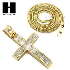 "Men Iced Out glo gang Cross Pendant or w/ 4mm 36"" Franco Chain Necklace FS005"