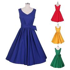 Women Vintage Rock Dress Check Swing Cocktail Dress Party Prom Housewife Dress