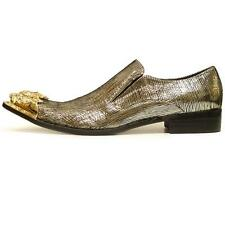 Men's Fiesso Gold Metallic Leather Pointed Toe Shoes Gold Metal Tip FI 6981