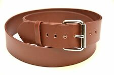 """GENUINE LEATHER PLAIN BROWN BELT 1.50"""" [38MM] *USA MADE* WITH ROLLER BUCKLE"""