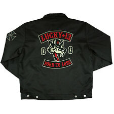Men's Lucky 13 Born To Lose Lined Chino Jacket Rockabilly Retro Lone Wolf