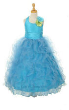 New Flower Girls Turquoise Full Length Fancy Ruffled Dress Pageant Party 1175C