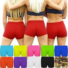 WOMENS LADIES GIRL HOT PANTS MICROFIBER KNICKER NEON LYCRA DANCE SHORTS GYM SEXY