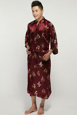 Cozy Men's Silk Bathrobe Gown/robe Kimono Size: S M L XL XXL XXXL Burgundy