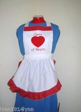 "GIRLS ""QUEEN OF HEARTS"" COSTUME APRON Black/White or Red Made to order"