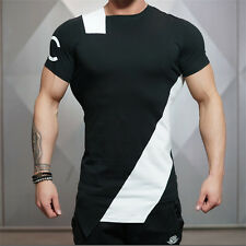 Men Gym T shirt Silm Fit Cotton Tee Short Sleeve Bodybuilding Fitness Muscle Fit