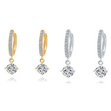 1 Pair Women Gold Plated Crystal Rhinestone Stud Earrings Hoop Jewelry  WS