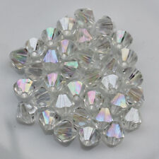 Wholesale 1000 Pcs 4MM 6MM Acrylic Crystal Bicone Loose Spacer Beads AB Color