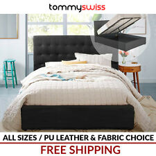 TOMMY SWISS: King, Queen & Double Gas Lift Storage Bed Frame Extra Tall Bed Head