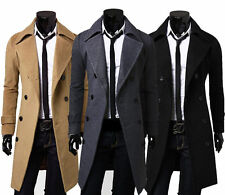 gentleman Slim Stylish Trench Coat Winter Long Jacket Double Breasted Overcoat