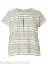 LADIES JUNAROSE PLUS SIZE CREAM AND GREY STRIPE SHORT SLEEVE TOP SIZES 14-22