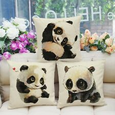 "X'mas Gift Home Decor Zip Open Cute Panda Cotton Linen Cushion Cover 45cm/18"" O"