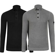 New Mens Dissident Bruner Cable Knit Funnel Neck Pullover Jumper Top Size S-XXL