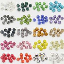 100Pc Czech Crystal Glass Rhinestone Pave Clay Disco Ball Spacer Loose Bead 10MM