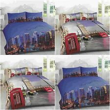 3D LONDON BIG BEN NEW YORK SKYLINE DUVET QUILT COVER BEDDING PILLOWCASE SET