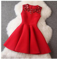 Womens Lovely Red/Magenta/Black Sleeveless Evening Party Mini Cocktail Dress