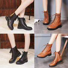 Women Ladies Low Mid High Ankle Boots Platform Lace Up Military Army Shoes L1Y1