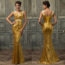 Shiny Sequins Formal Long Evening Cocktail Party Gown Prom Bridesmaid Maxi Dress
