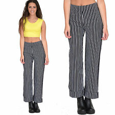 New Ladies Womens Wide Leg Nautical Style Stripe Short Cropped Capri Trousers