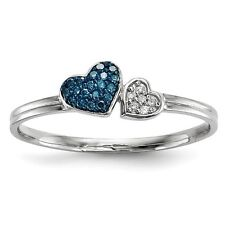 Sterling Silver W/ Rhodium-plated Blue and White Diamond Hearts Ring