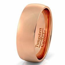 Rose Gold Tungsten Ring Dome Mens and Womens Wedding Band Tungsten Carbide