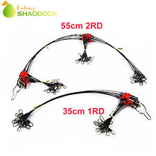 12Pcs/pack Fishing Wire Rigs 2 Arms Wire Leader Rigs with Swivels & Snaps Tackle