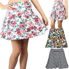 Womens Ladies Floral Summer Print Stretchy High Waisted Swing Skater Mini Skirt