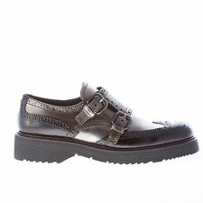 PRADA women shoes Grey and black polished leather double monk strap wingtip