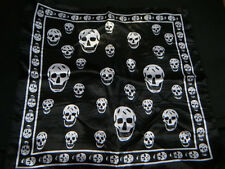 SILK FEEL SQUARE BLACK/WHITE SKULL UNISEX NECK HEAD SCARF BANDANA EMO GOTH UK
