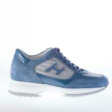 HOGAN women shoes Interactive blue avio suede and patent leather lace up sneaker
